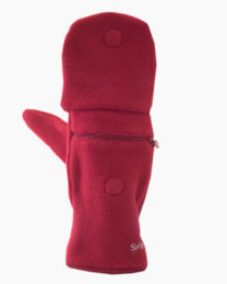 Red Multi Mitt Fingerless Gloves Outside 2