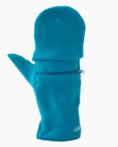 Teal Multi Mitt Fingerless Gloves Outside